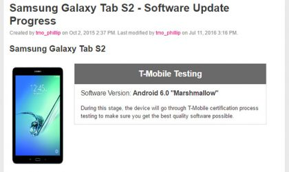 Android Marshmallow update for T-Mobile Tab S2 enters testing phase