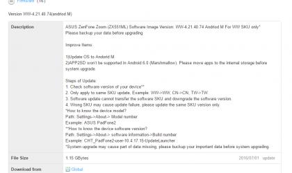 [Download] Zenfone Zoom Marshmallow update released  [new firmware added]