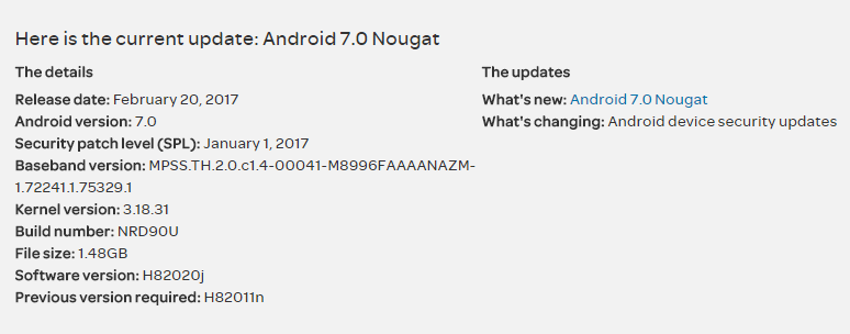 AT&T LG G5 Nougat