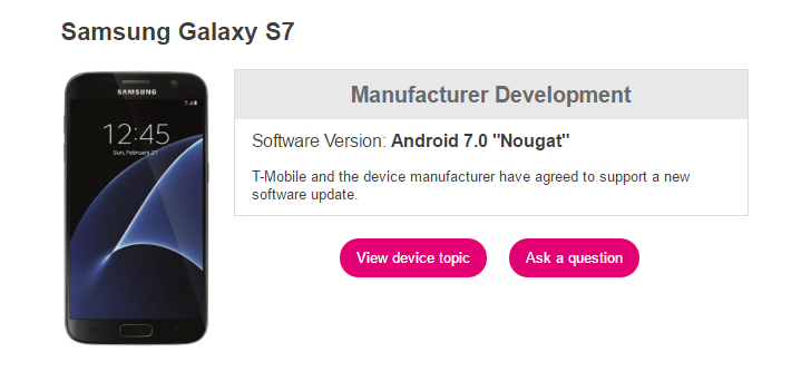 T-Mobile samsung s7 Nougat