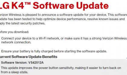 VS42512A: Verizon release LG K4 update to fix power button sensitivity