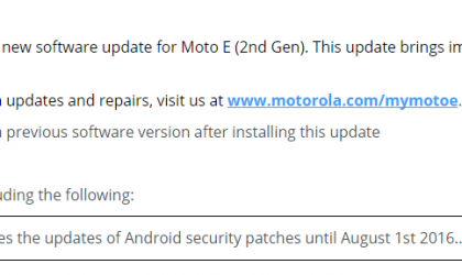 Moto E2 updates released with August security patch