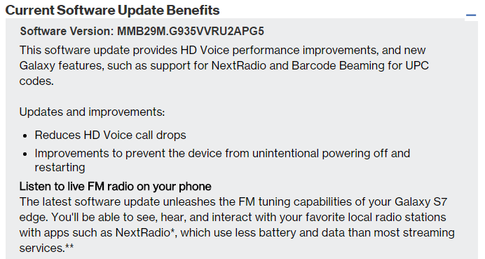 verizon s7 update fm radio