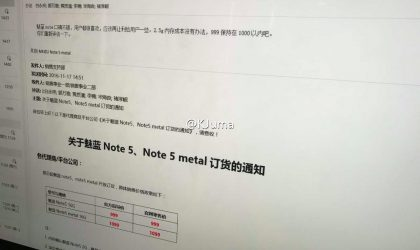 Meizu M5 Note price leaks out, metal variant exists too