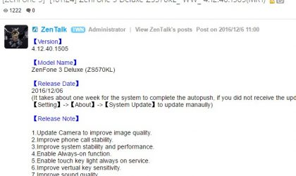 ZenFone 3 Deluxe (ZS570KL) receives OTA update with stability and performance improvments