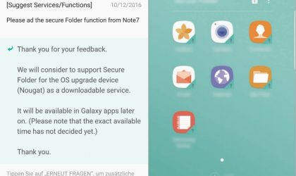 Galaxy S7 Android 7.1.1 Nougat update to add Secure Folder feature too