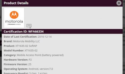 Moto Z Play Nougat update set for release; clears WiFi authority with Android 7.0 software version