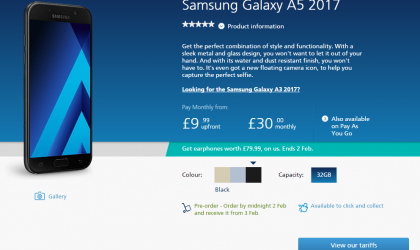 Samsung Galaxy A5 and A3 2017 editions up for pre-order at O2 (UK)