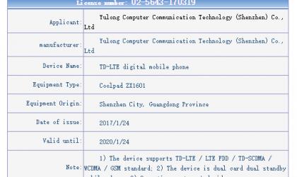 Coolpad ZX1601 shows up on Tenaa