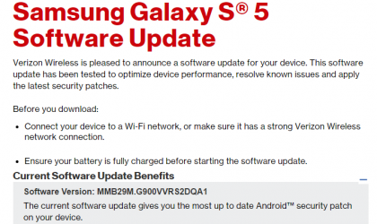 Verizon Galaxy S5, Note Edge and Note 4 gets January security update, build QA1