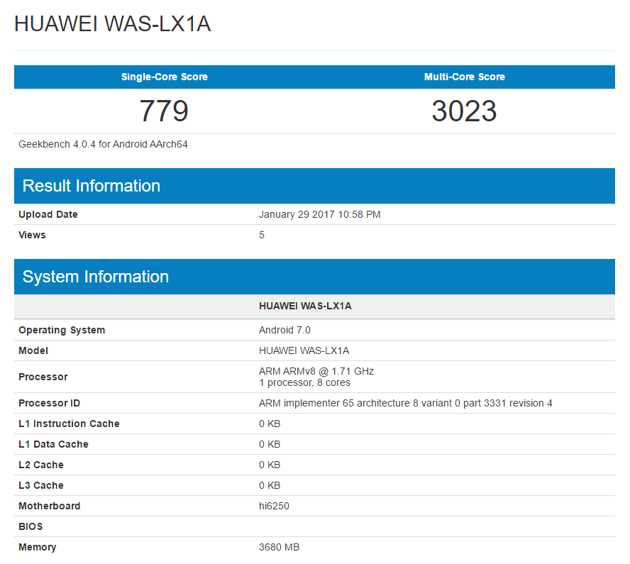 Huawei P10 Lite Specs Leaked Via Geekbench The Android Soul
