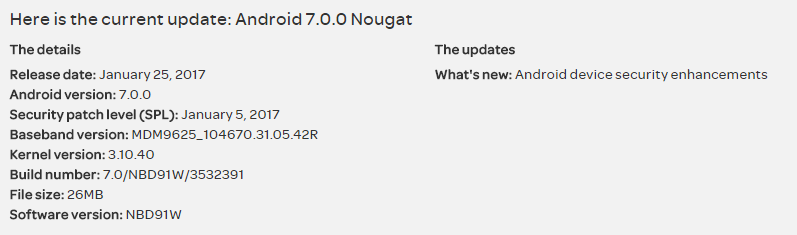 AT&T Nexus 6 receiving an OTA update with January security patch, build NBD91W