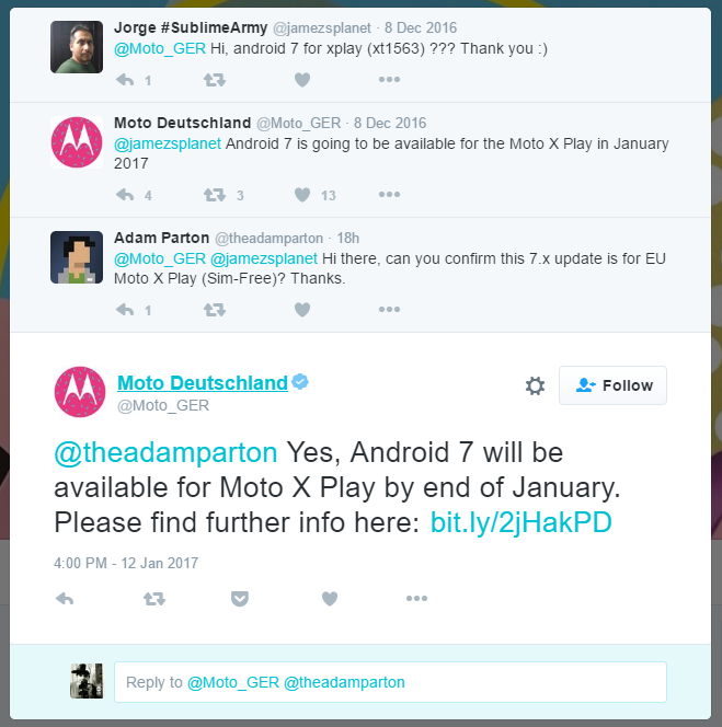 android comments moto pure edition nougat update