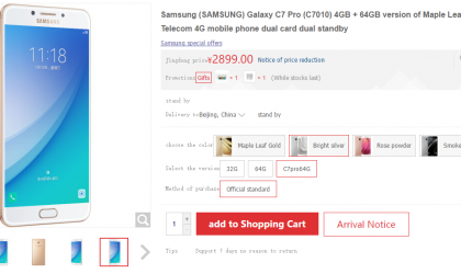 Galaxy C7 Pro available for pre-order in China, priced at 2899 Yuan