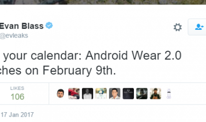 Android Wear 2.0 update to release on February 9?