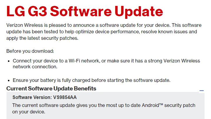 Verizon LG V10 and LG G3 also gets security update, build