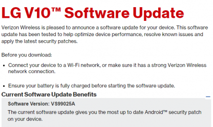 Verizon LG V10 and LG G3 also gets security update, build numbers VS99025A and VS9854AA
