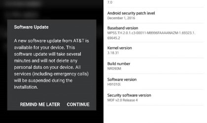 AT&T LG V20 gets H91010L update carrying December security patch