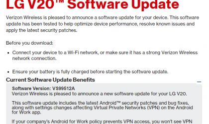 Verizon LG V20 OTA update rolling out with January security patch and bug fixes, build VS99512A