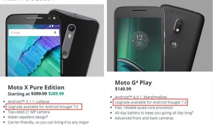 Motorola lists Android 7.0 Nougat update for Moto X Pure, Moto Z Play and Moto G4 Play