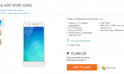 Oppo A39 released in Philippines, priced ₱10,990.00