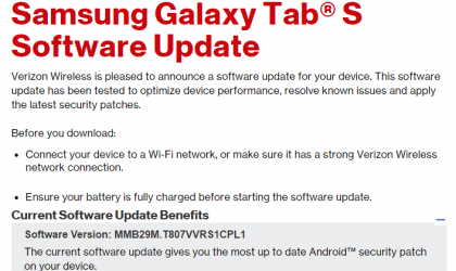 Verizon Galaxy Tab S and Tab S2 get December security update, builds T807VVRS1CPL1 and T817VVRS2BPL1