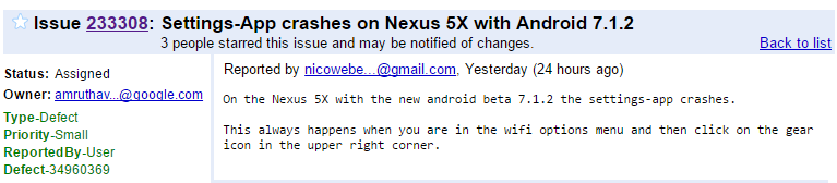 Android 7.1.2 issue: Settings app crashing on Nexus 5X and Pixel phones