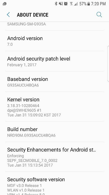 AT&T Galaxy S7 and Galaxy S7 Edge Nougat update released as build G930AUCU4BQA6 and G930AUCU4BQA6