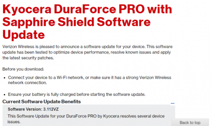 Kyocera DuraForce PRO receives Security patch from Verizon
