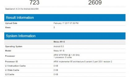 Marshmallow based Meizu M1E appears on Geekbench and GFXBench
