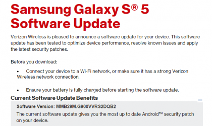 Verizon Galaxy S5 OTA update rolling out with February security patch, build G900VVRS2DQB2