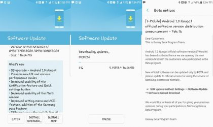 T-Mobile Galaxy S7, Galaxy S7 Edge starts receiving stable Nougat update