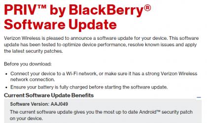 Verizon BlackBerry Priv receives January Security update, build AAJ049