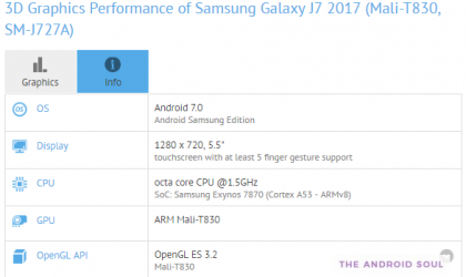 Samsung Galaxy J7 (2017) specs now available thanks to GFXbench