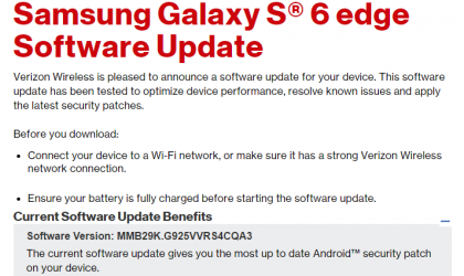Verizon Galaxy S6 Edge update rolling out with January security patch, build G925VVRS4CQA3