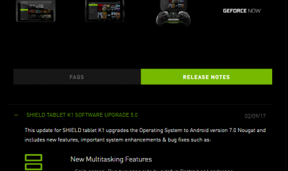 Android 7.0 Nougat update for Nvidia Shield Tablet K1 released!