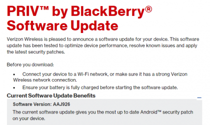 Verizon rolls out March security patch for Blackberry PRIV