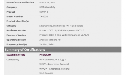 Nokia 3 to release soon globally, gets certified by WiFi Alliance
