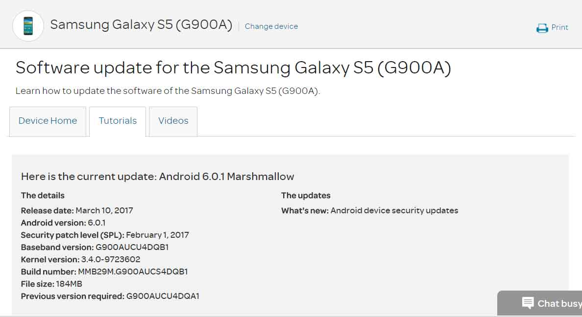 galaxy s5 software update at&t