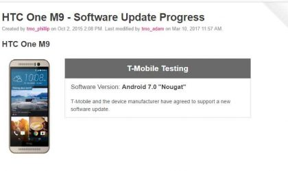 T-Mobile confirms HTC One M9 Nougat update is now under testing