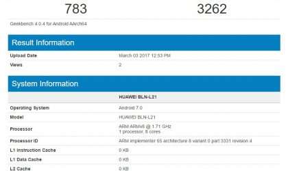 Huawei Honor 6X spotted running Android 7.0 update on Geekbench