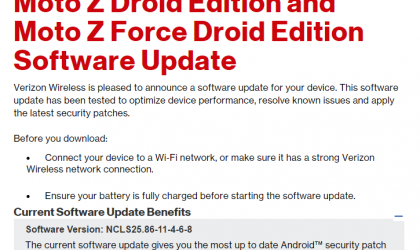 Verizon Moto Z Droid and Z Force Droid OTA update rolling out with March security patch
