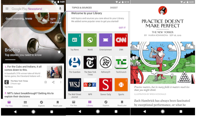 New update to Google Play Newsstand brings easy backup and
