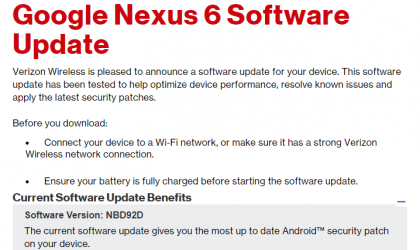 Verizon Nexus 6 OTA update with March security patch rolling out, build NBD92D