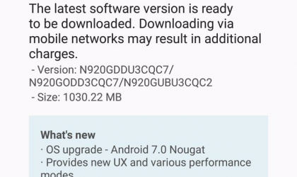 Samsung Galaxy Note 5 Nougat update rolling out in India, build N920GDDU3CQC7