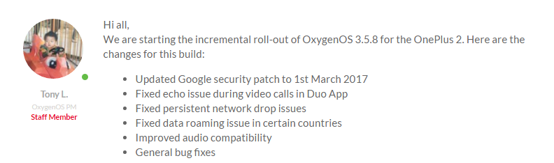 OnePlus 2 OTA update to OxygenOS 3.5.8 gets you March security patch