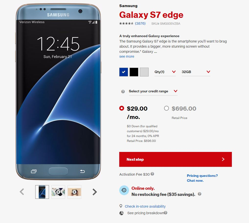Verizon Galaxy S7 Edge price dropped by around $100 in