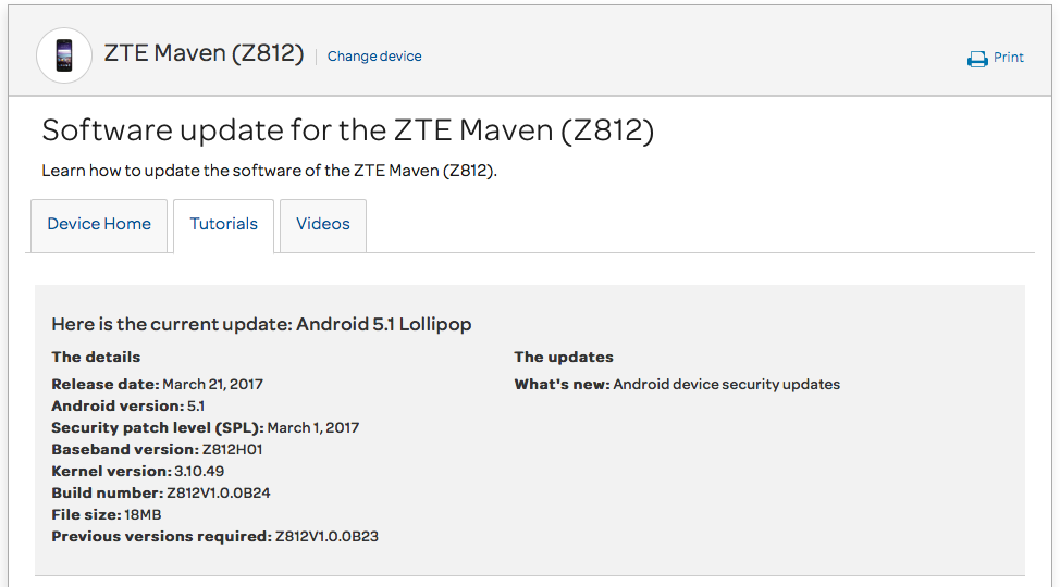 AT&T ZTE Maven Z812 March security patch rolling out