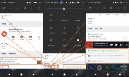 Android O: Icon of notifications below the current view are shown in bottom bar of the shade