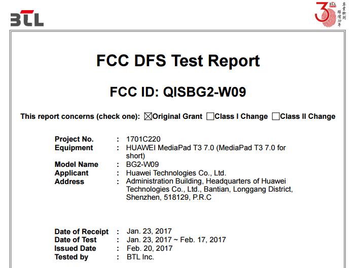Huawei Mediapad T3 Clears Fcc